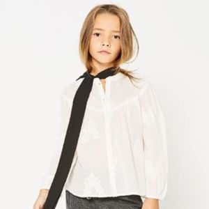 Zara girls white cotton embroidered blouse